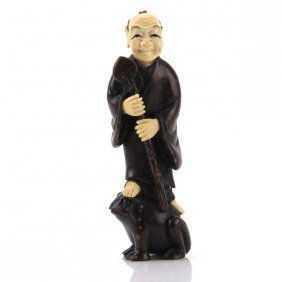 Antique Japanese Carved Wood And Ivory Netsuke.