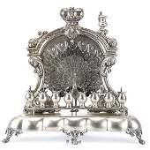 Rare Austrian Silver Peacock Hanukkah Menorah