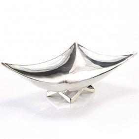 Sterling Silver Rectangular Bowl Centerpiece, Mexico.