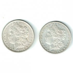 Two Morgan Silver Dollars, 1879-1884.