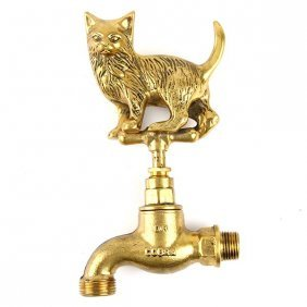 Vintage Cat Brass Tap.