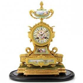 French Gilt Bronze Ormolu And Porcelain Mantel Clock.