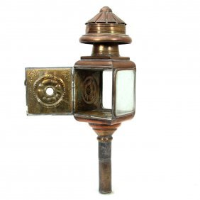 Antique Brass And Copper Carriage Lantern.