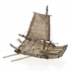 Japanese Silver Bamboo Sail Raft Boat Miniature Model