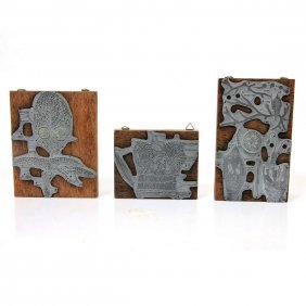 Lot Of 3 Israeli Printing Blocks.