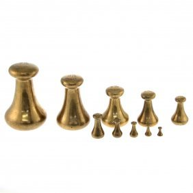 Set Of Avery 10 Brass English Bell Weights.