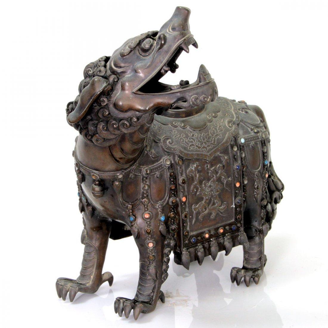 Large Chinese Bronze Foo Dog Incense Burner 19 Century