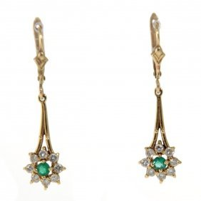 Pair Of 14k Yellow Gold Diamond And Emerald Earrings
