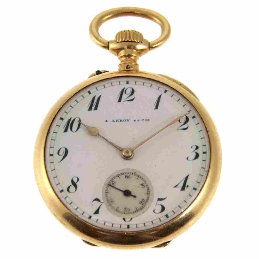 L. Leroy & Cie 18k Gold Open Face Pocket Watch.