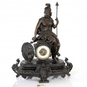 Athena Goddess Bronze Mantel Clock.