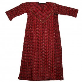 Old Palestinian Dress, With Red Embroidery Work Ca 1950