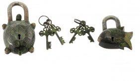 Two Japanese Bronze Locks.