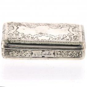 Austro-hungarian Silver Snuff Tobacco Box, Vienna, 1846