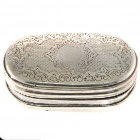 Silver Oval Snuff Tobacco Box, Vienna, Circa 1880.