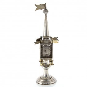 Russian Silver Filigree Spice Tower Besamim, Circa 1900