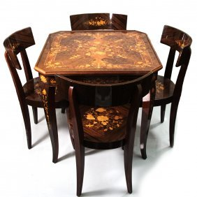 Italian Game Table & Chairs, Roulette, Chess, Cards.