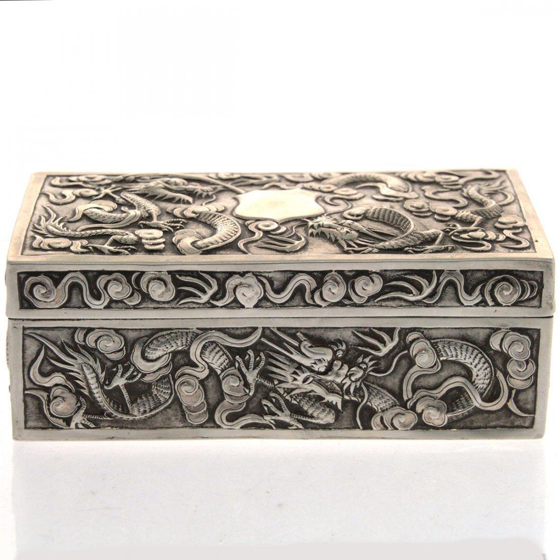 Chinese Export Silver Box By Kwong Wa Circa 1870