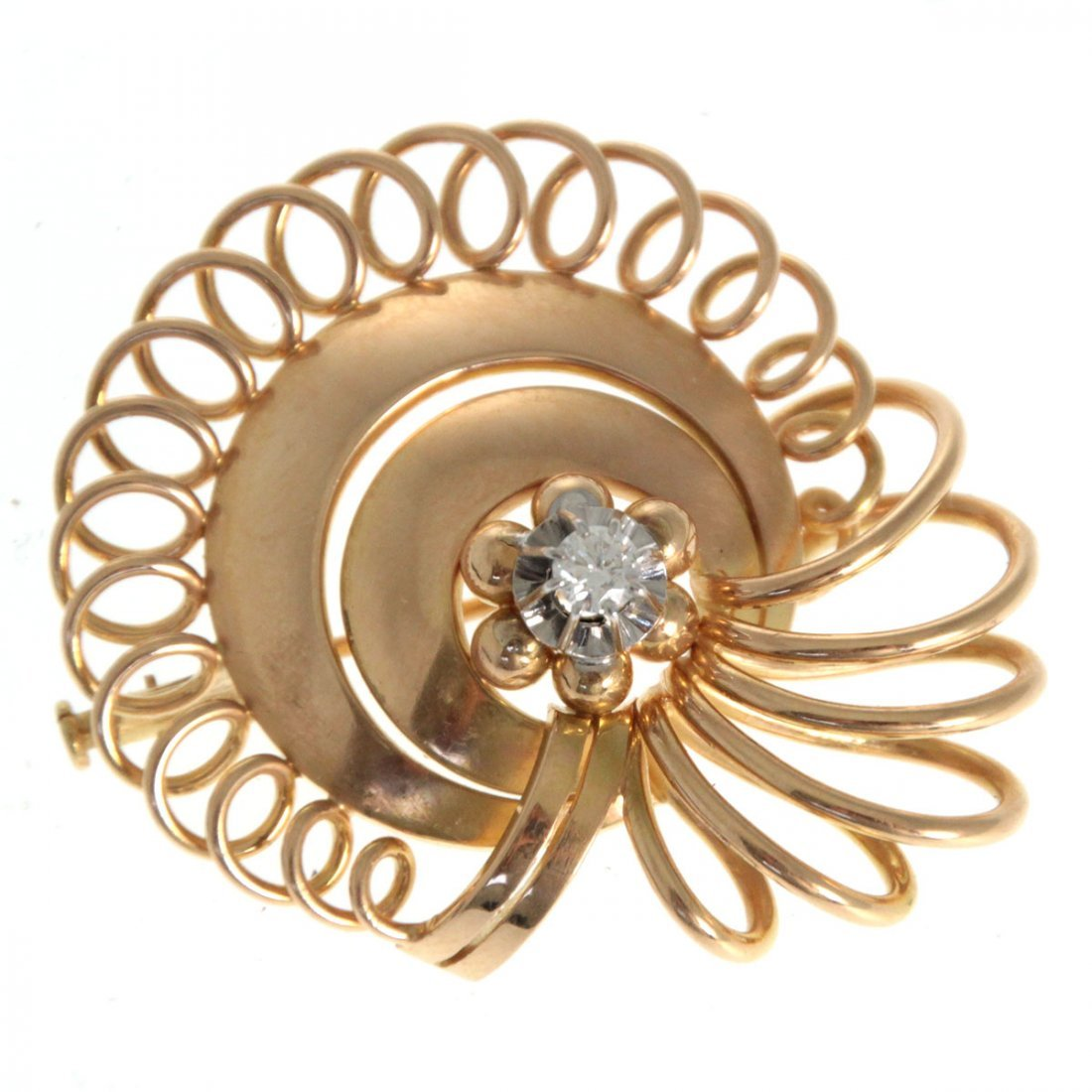 French 18k Yellow Gold and Diamond Brooch.