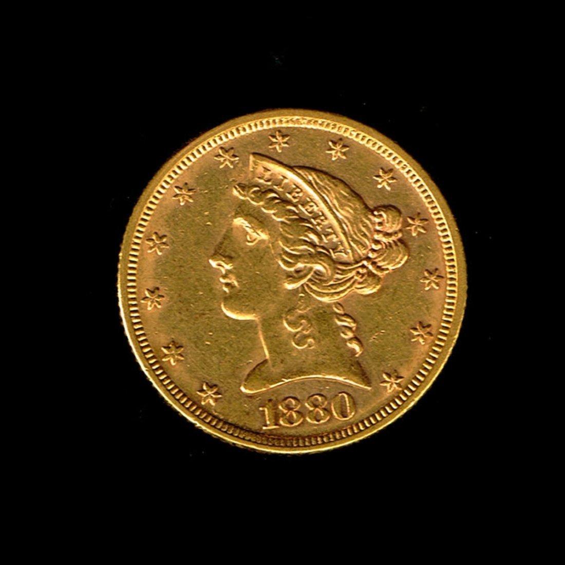 Liberty 5 Dollar Gold Coin, 1880.
