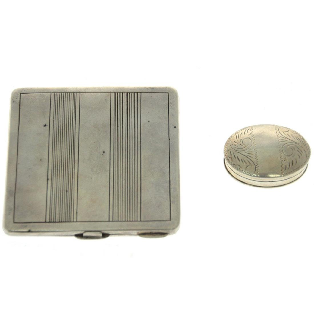 Silver Powder Case and Snuff Box.