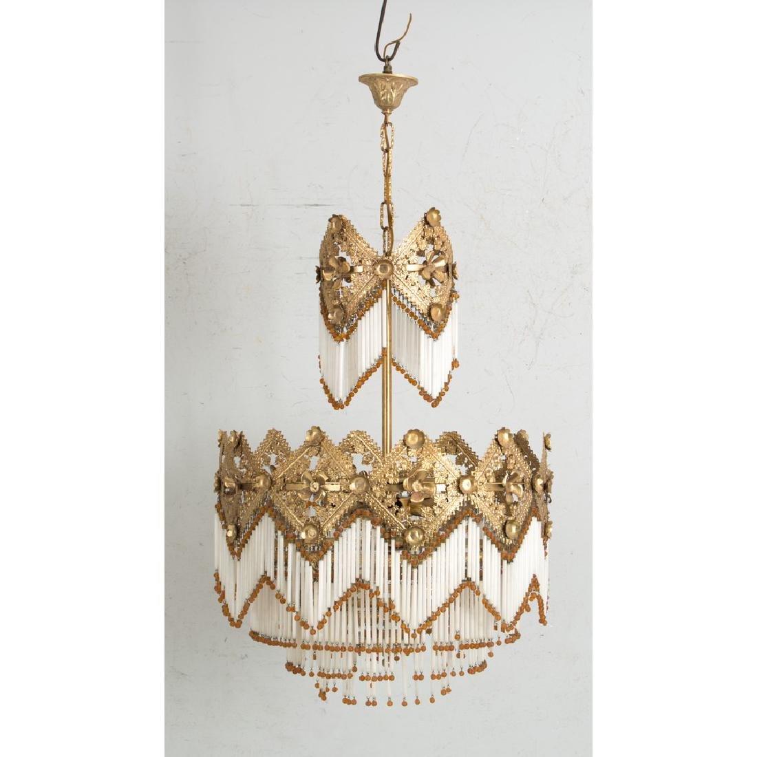 LAMPADARIO a sei luci in metallo dorato con cannucce in