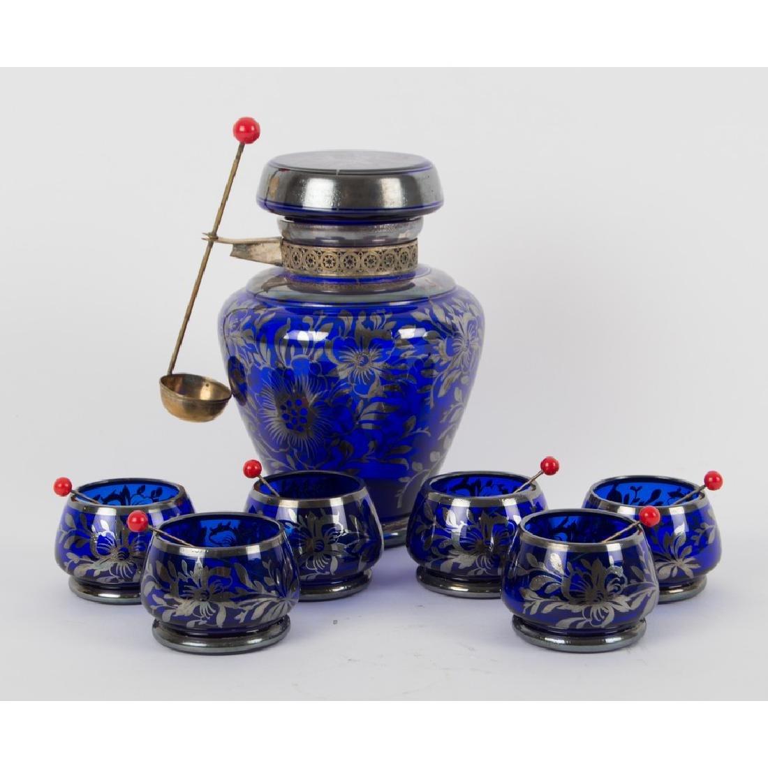 SERVIZIO deco' per amarene in vetro blu con decori in