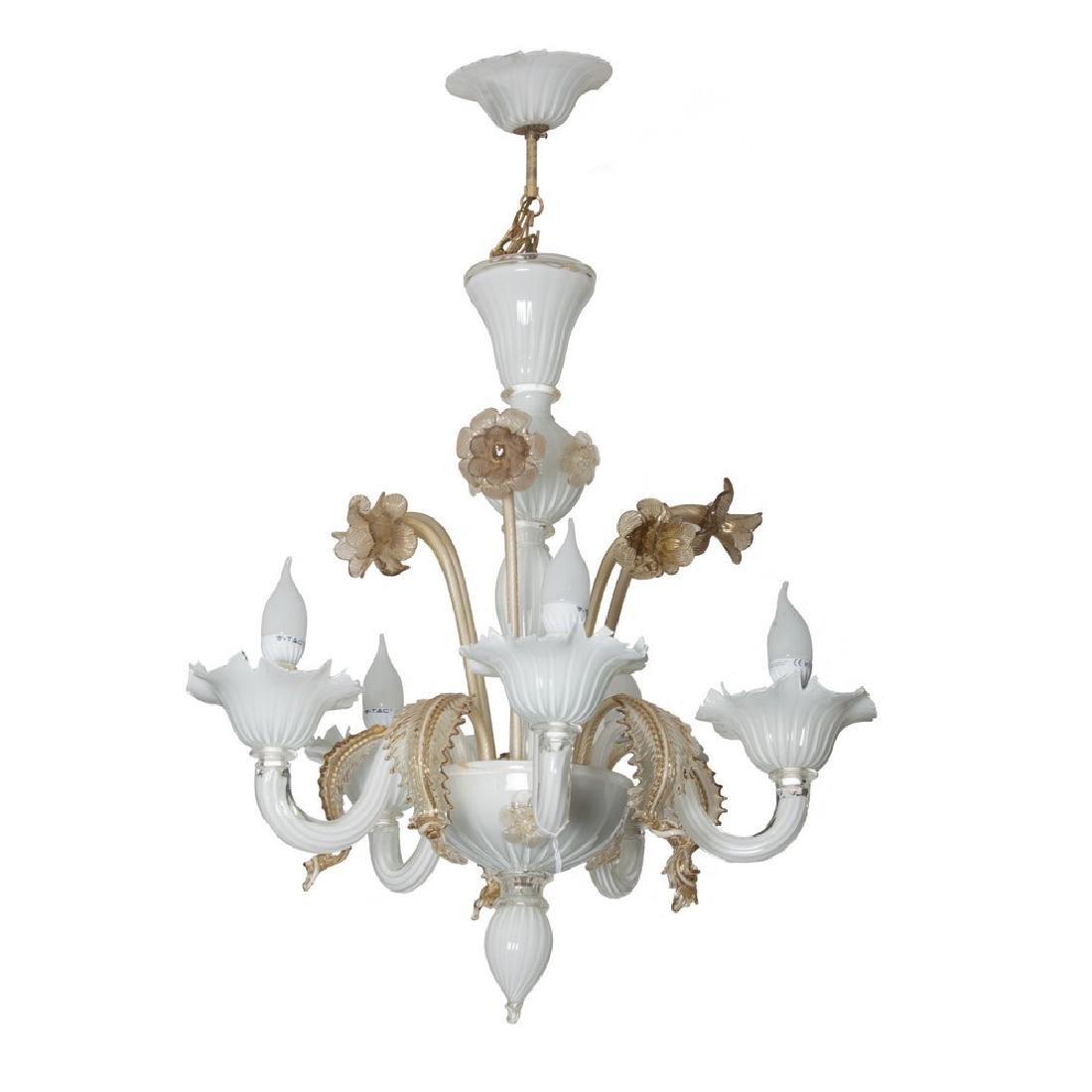 LAMPADARIO a cinque luci in vetro di Murano nei toni
