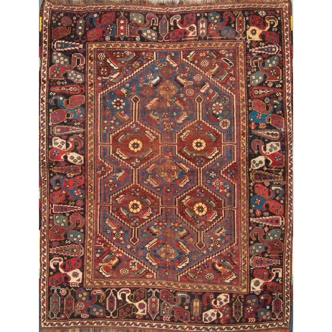 TAPPETO Qashqai, trama ordito e vello in lana. Persia