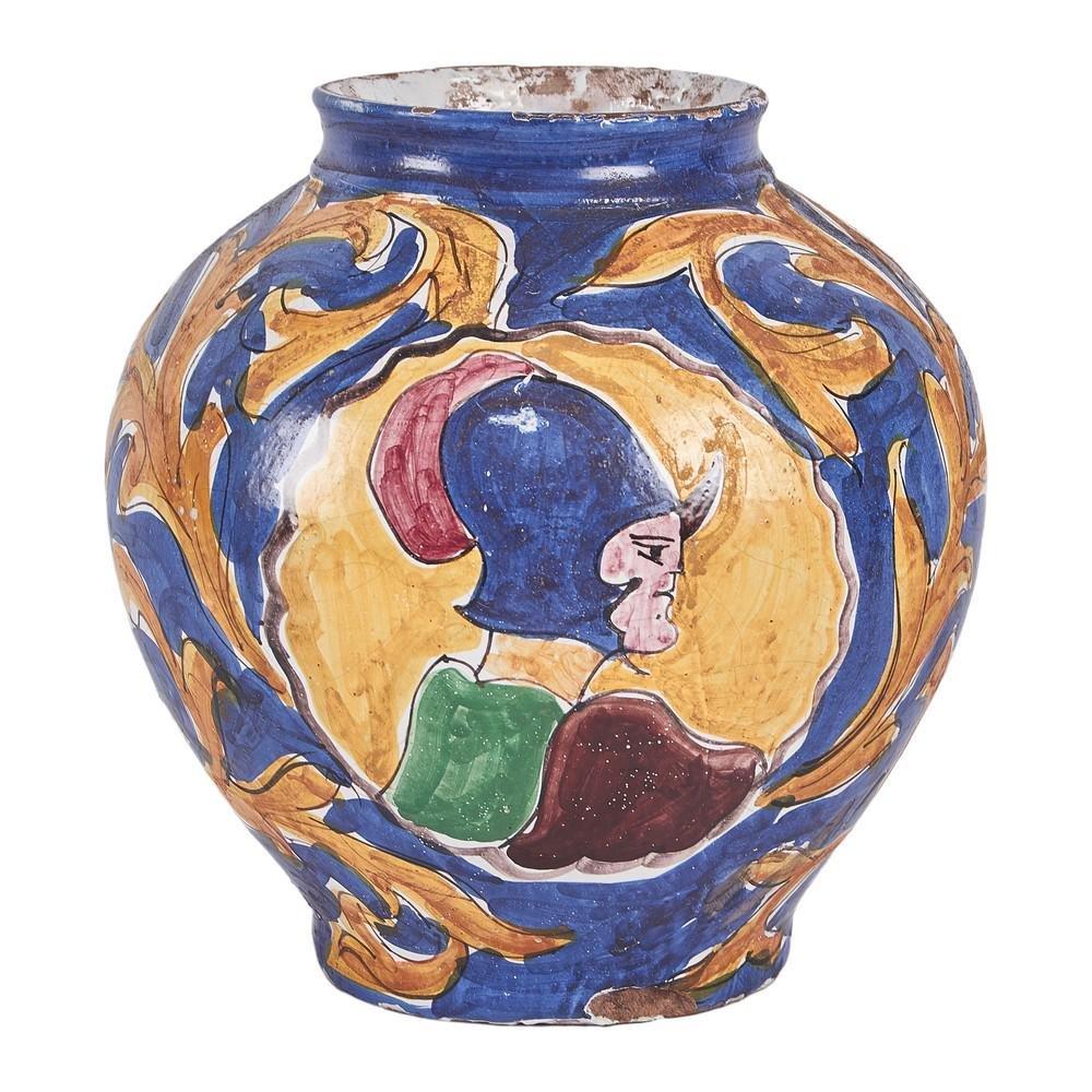 BOCCIA in ceramica smaltata e decorata (usure). Sicilia