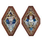 COPPIA ELEMENTI vitrei decorati in stile cattedrale