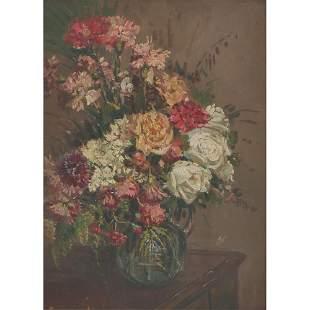 """ANONIMO DEL XX SECOLO  Olio su tavola """"Vaso con fiori""""."""