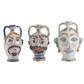 TRE BOTTIGLIE in ceramica smaltata e decorata