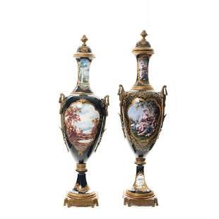 COPPIA POTICHE in porcellana decorata