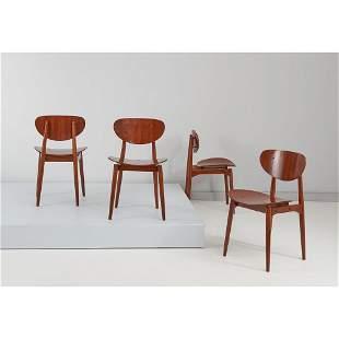 HANS J. WEGNER (Attr.le) Quattro sedie in legno