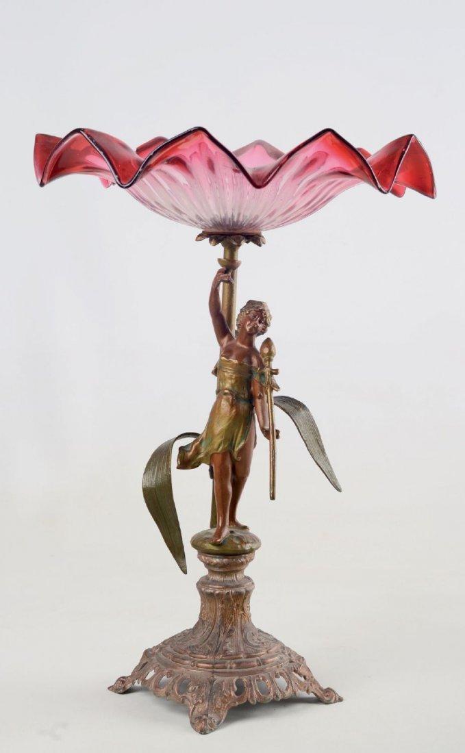 ALZATINA Liberty in metallo con coppa in vetro.