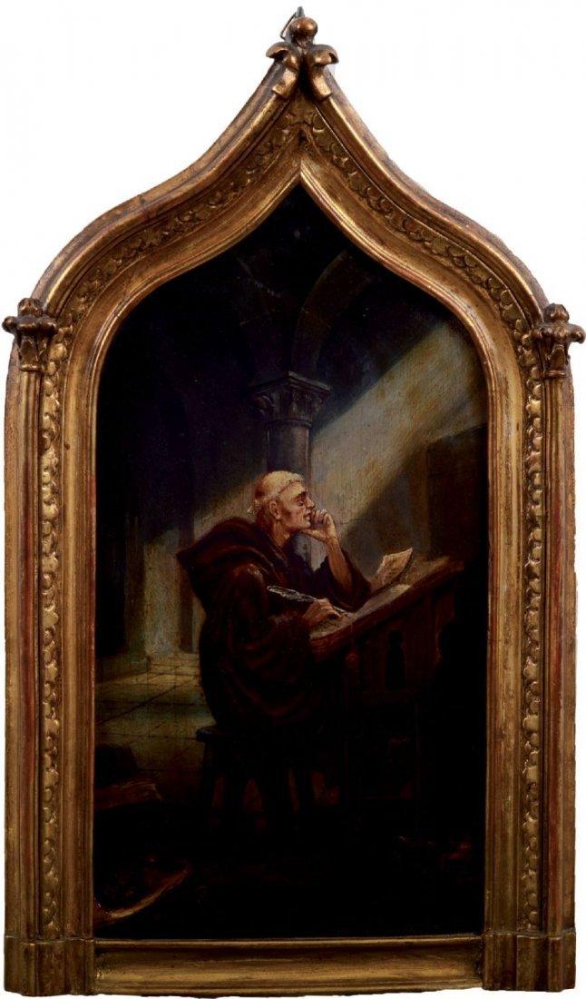 """OLIO su tavola  """"interno di Chiesa con prete"""" entro"""
