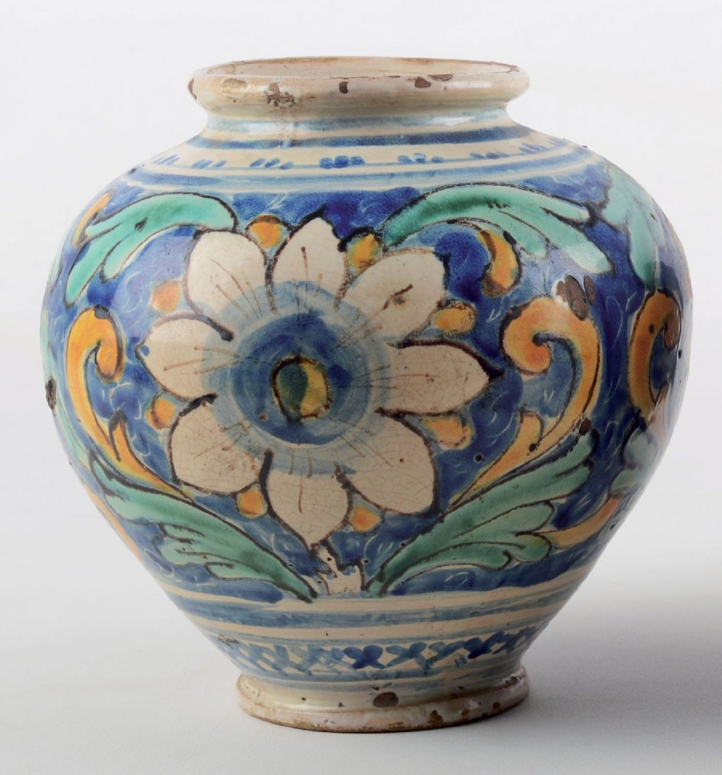 BOCCIA in ceramica smaltata e decorata.  Caltagirone