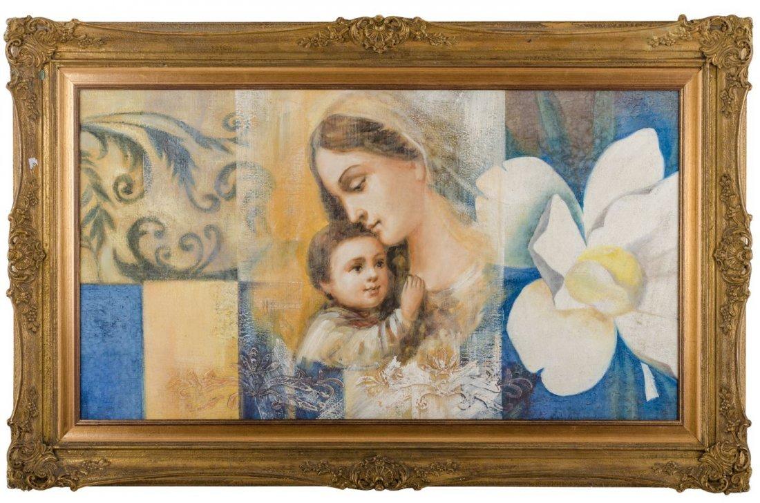 """OLIO su tela """"Madonna con Bambino"""". Italia XX secolo"""
