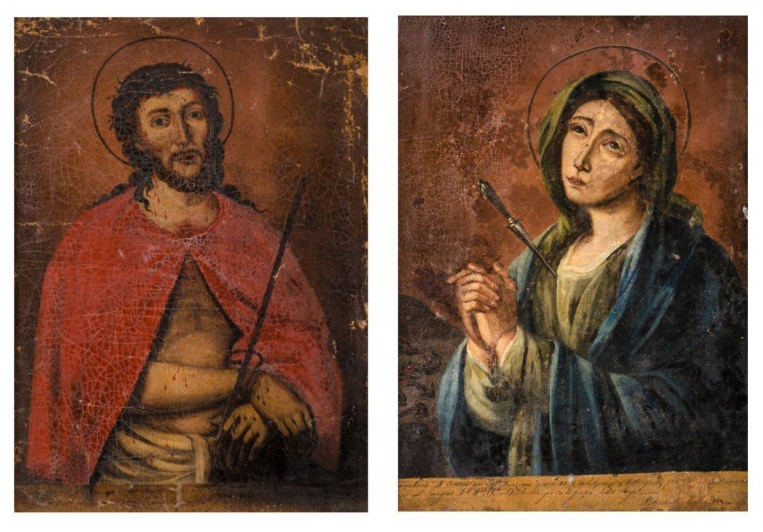 """COPPIA OLI su tela """"Ecce Homo"""" e """"Madonna addolorata""""."""