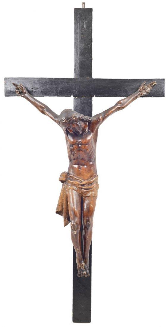 GRANDE CRISTO in cartapesta montato su croce in legno