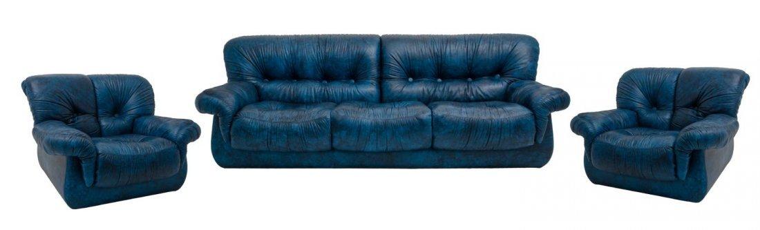 SALOTTO in pelle blu composto da DIVANO a tre posti e