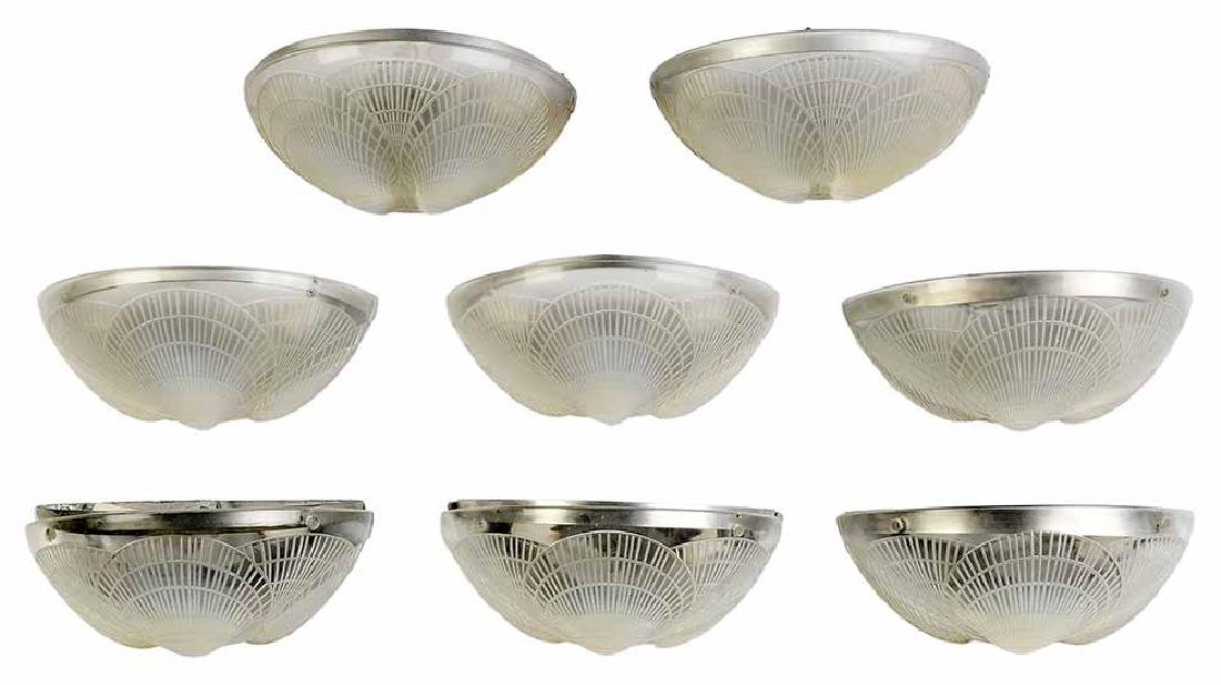 Pair Lalique Frosted Glass [Coquilles