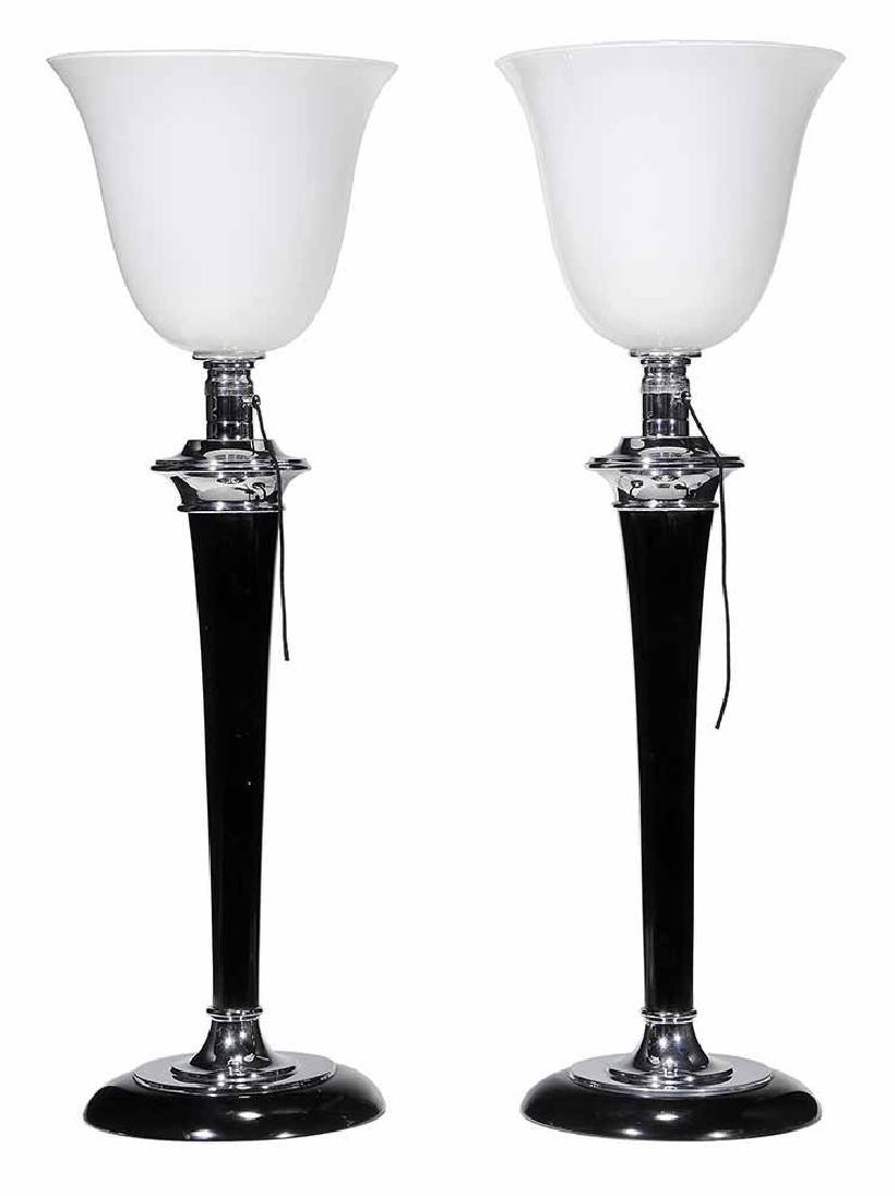 Pair Mazda Art Deco Torchère Lamps