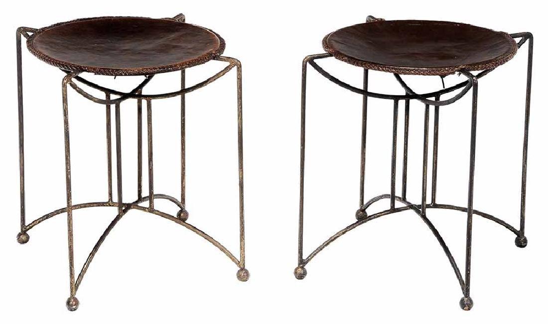 Pair Art Deco Style Gilt Wrought Iron