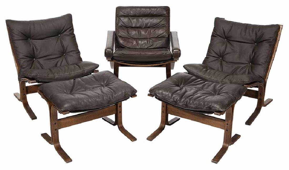 Modern Bentwood and Brown Leather-