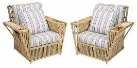 Pair Rattan and Striped Upholstered