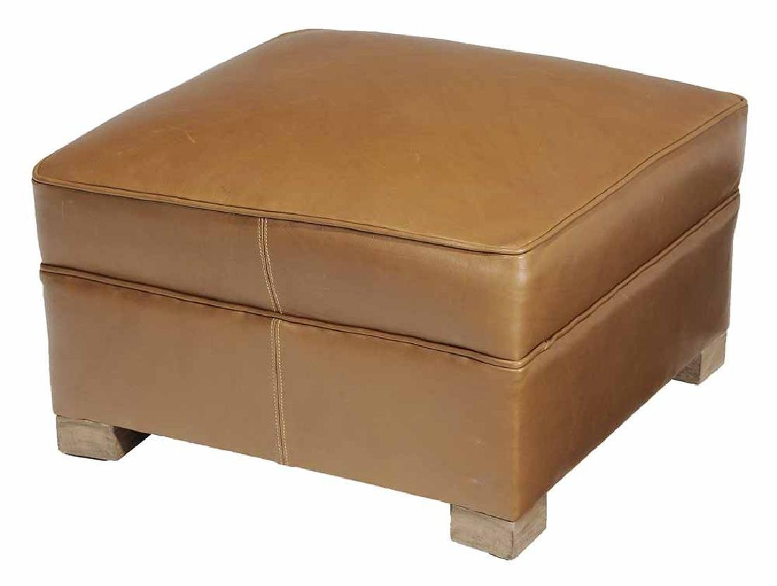 Brown Leather-Upholstered Ottoman