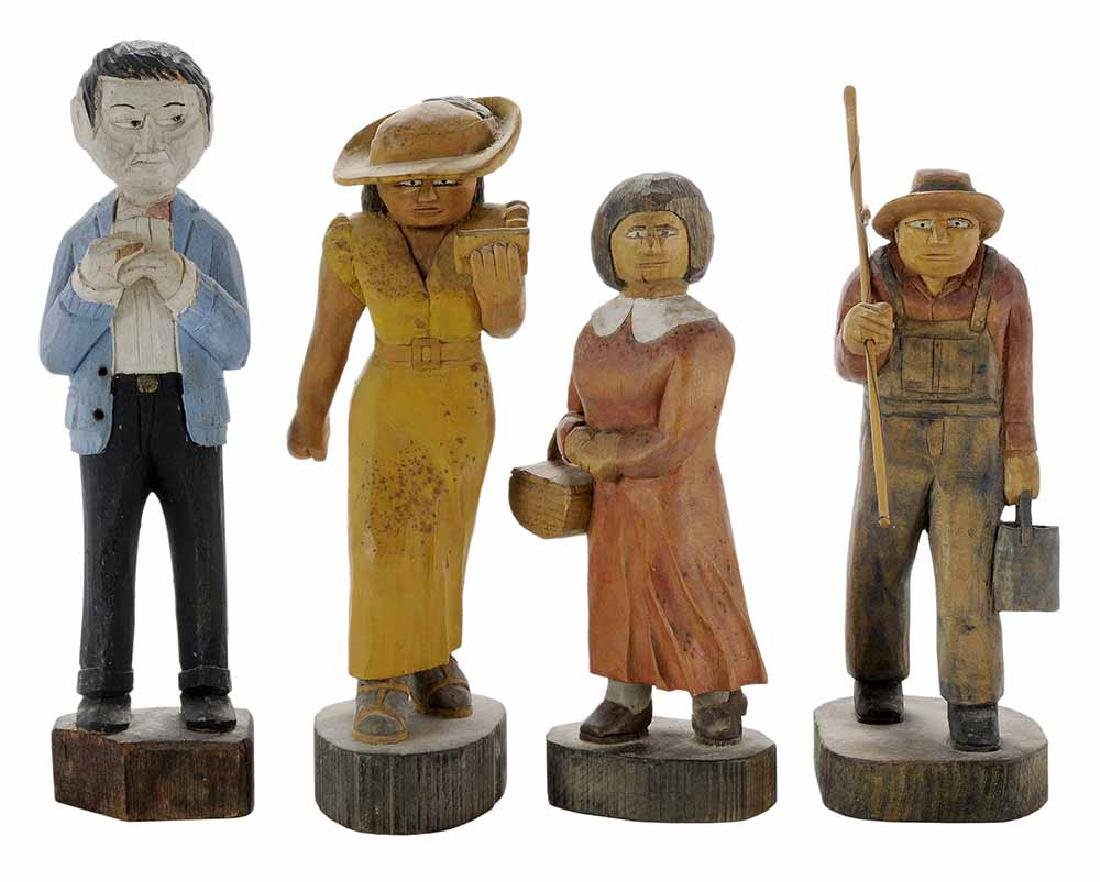 Group of Four Folk Art Woodcarvings
