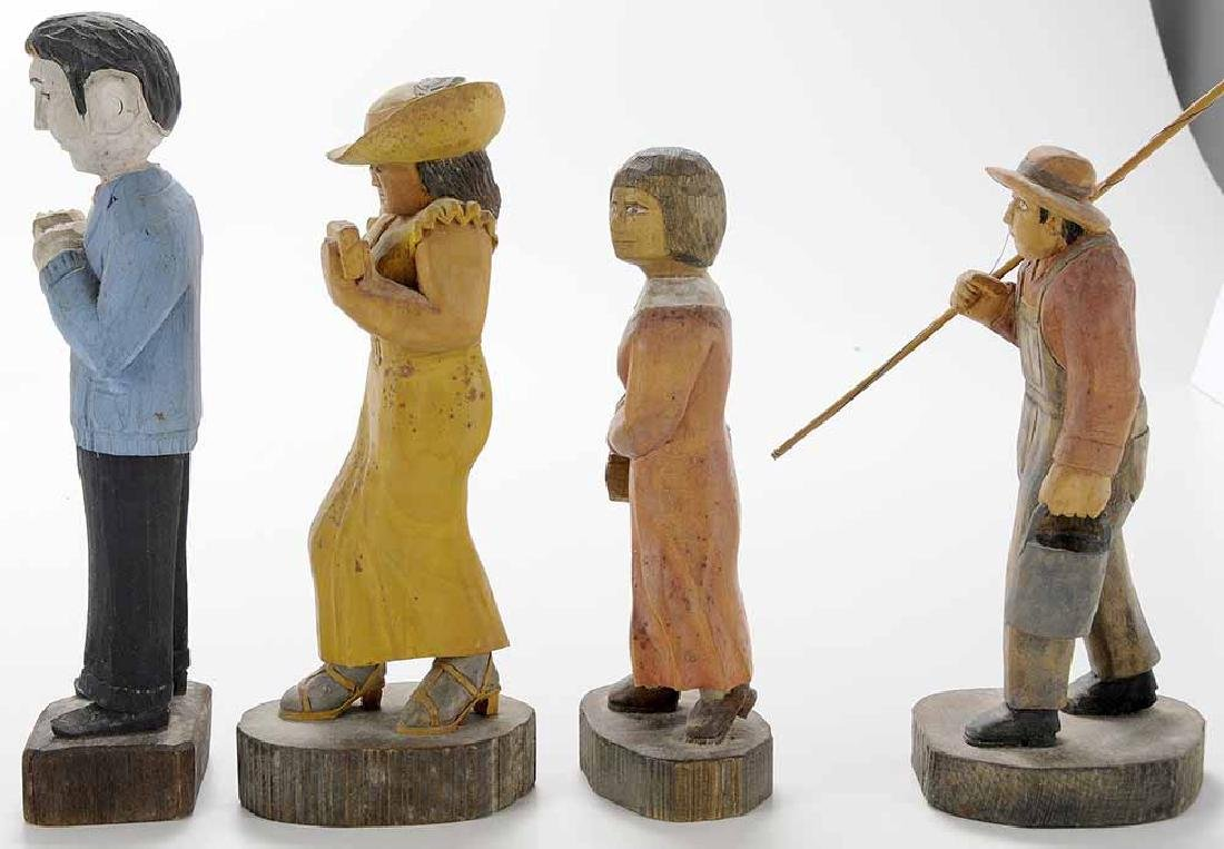 Group of Four Folk Art Woodcarvings - 3