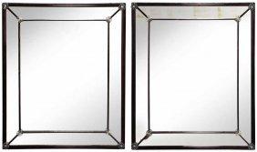 Pair Venetian Art Deco Style Mirror-Framed Mirrors